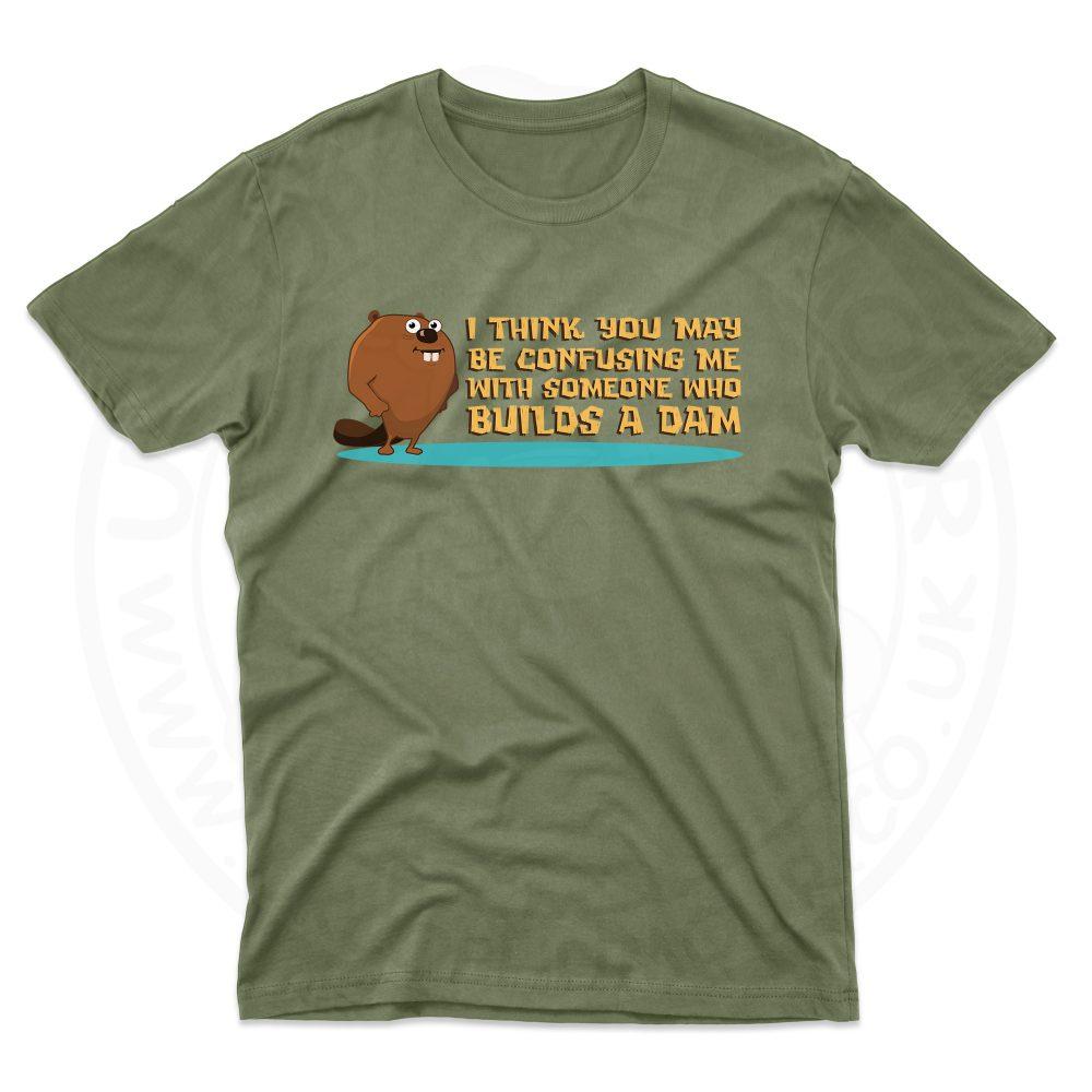 Mens Builds A Dam T-Shirt - Military Green, 2XL