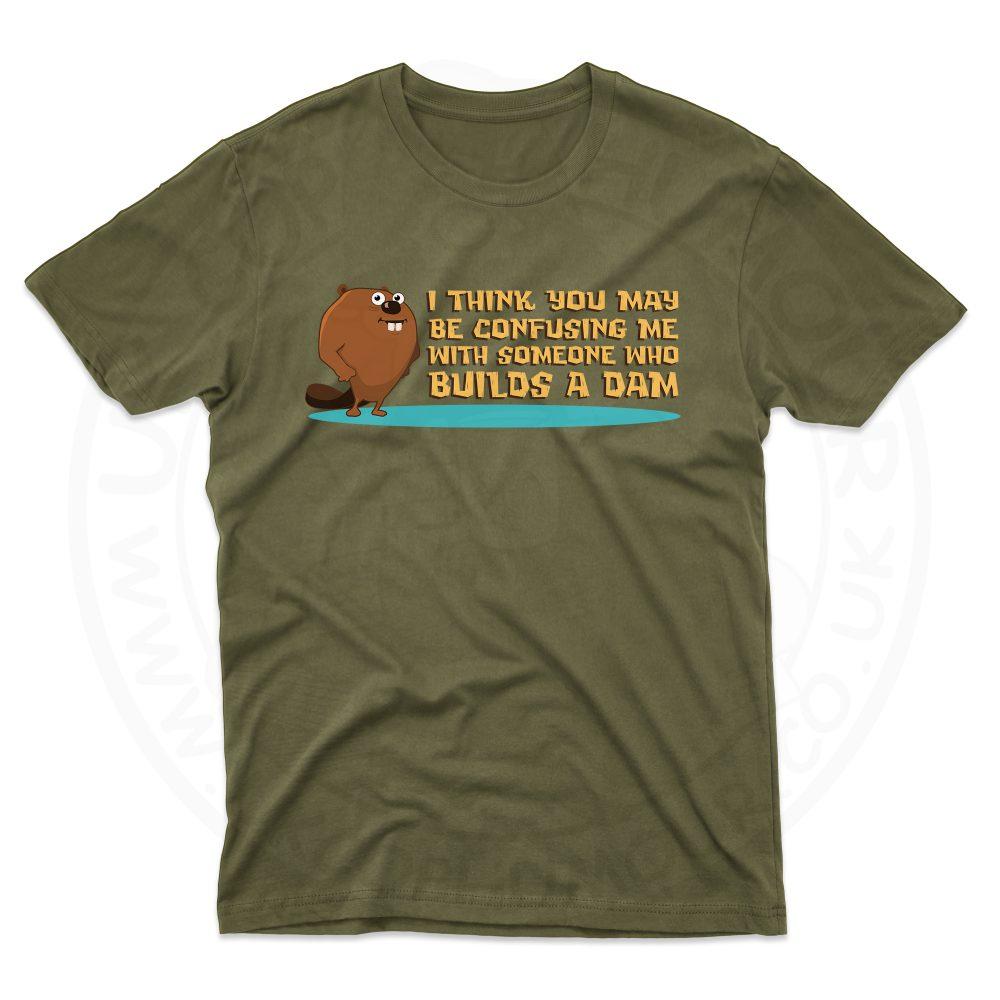 Mens Builds A Dam T-Shirt - Olive Green, 2XL