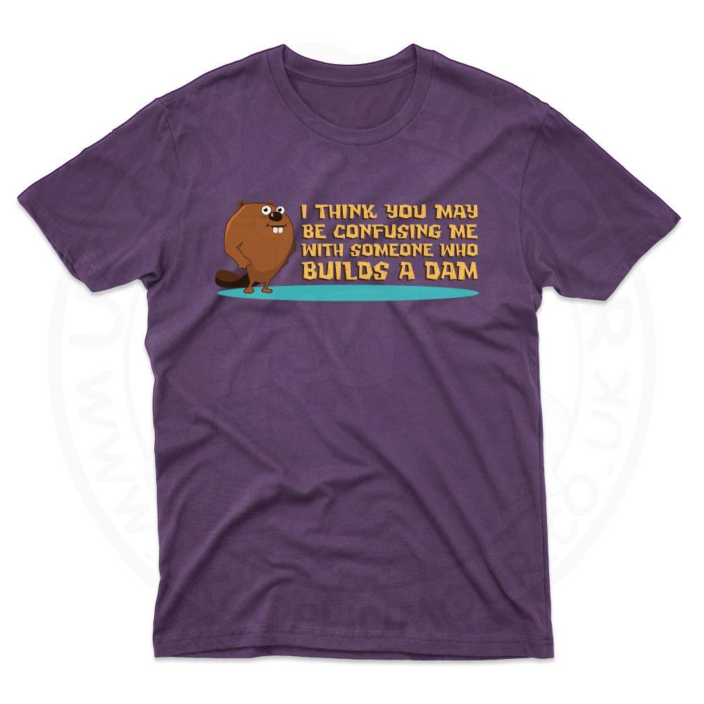 Mens Builds A Dam T-Shirt - Purple, 2XL