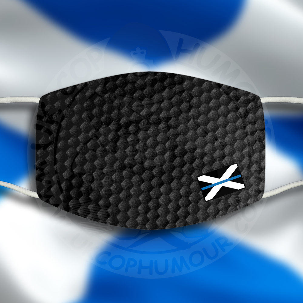 Small Scottish Blue Line Flag Face Cover