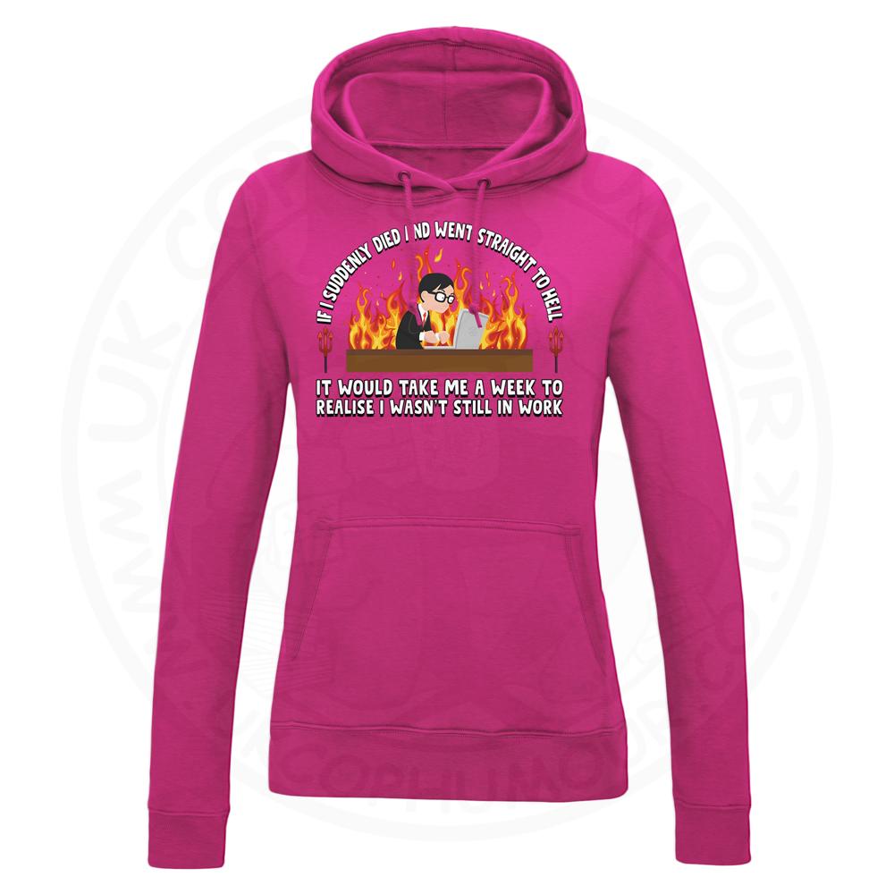 Ladies STRAIGHT TO HELL Hoodie - Hot Pink, 18