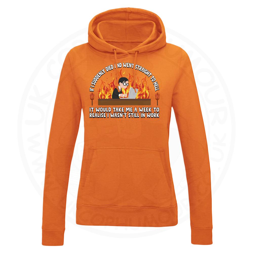 Ladies STRAIGHT TO HELL Hoodie - Orange, 18