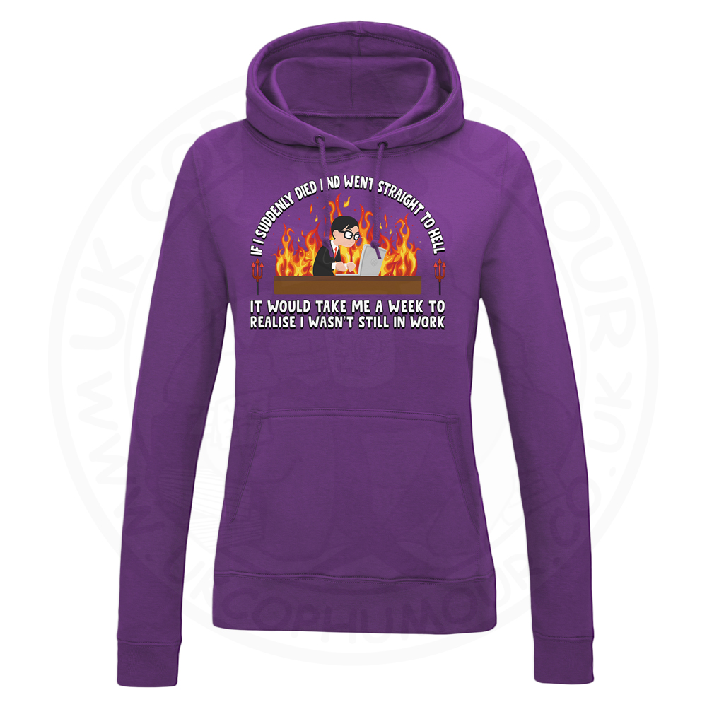 Ladies STRAIGHT TO HELL Hoodie - Purple, 18