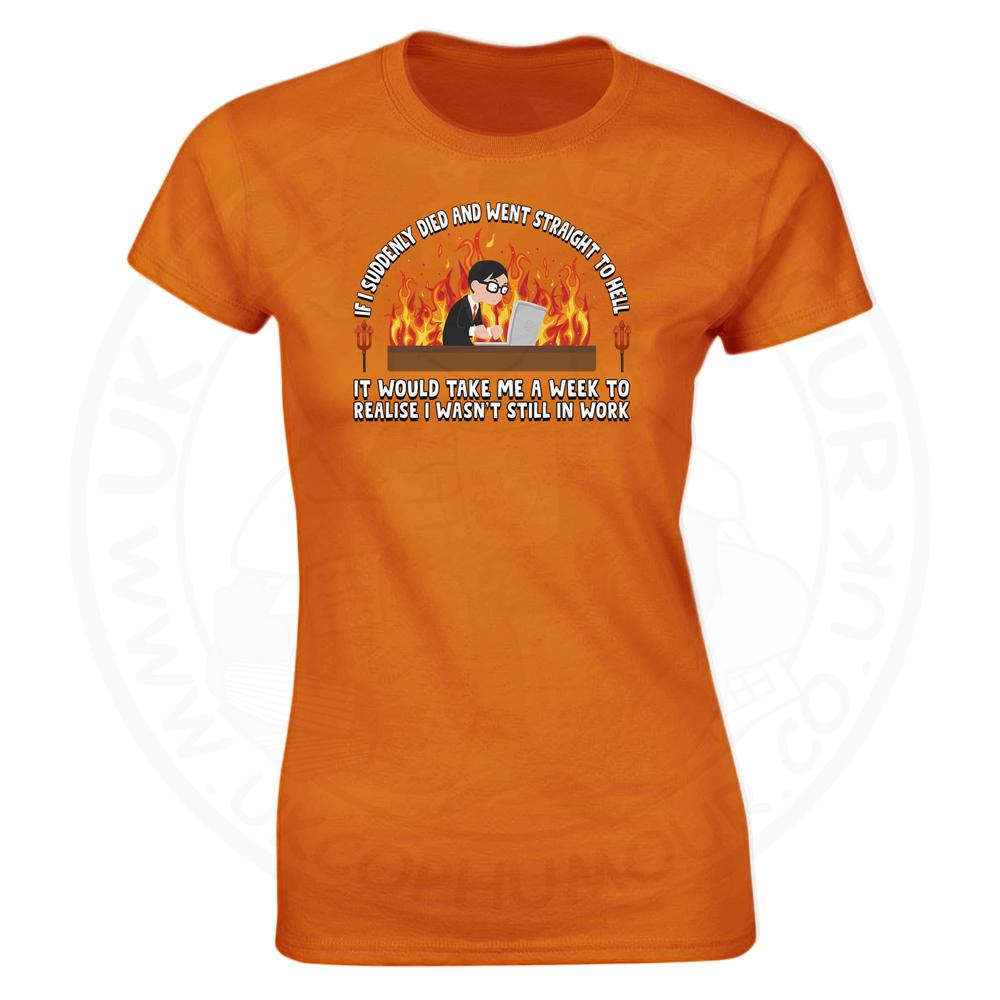 Ladies STRAIGHT TO HELL T-Shirt - Orange, 18