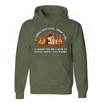 Unisex STRAIGHT TO HELL Hoodie - Olive Green, 2XL