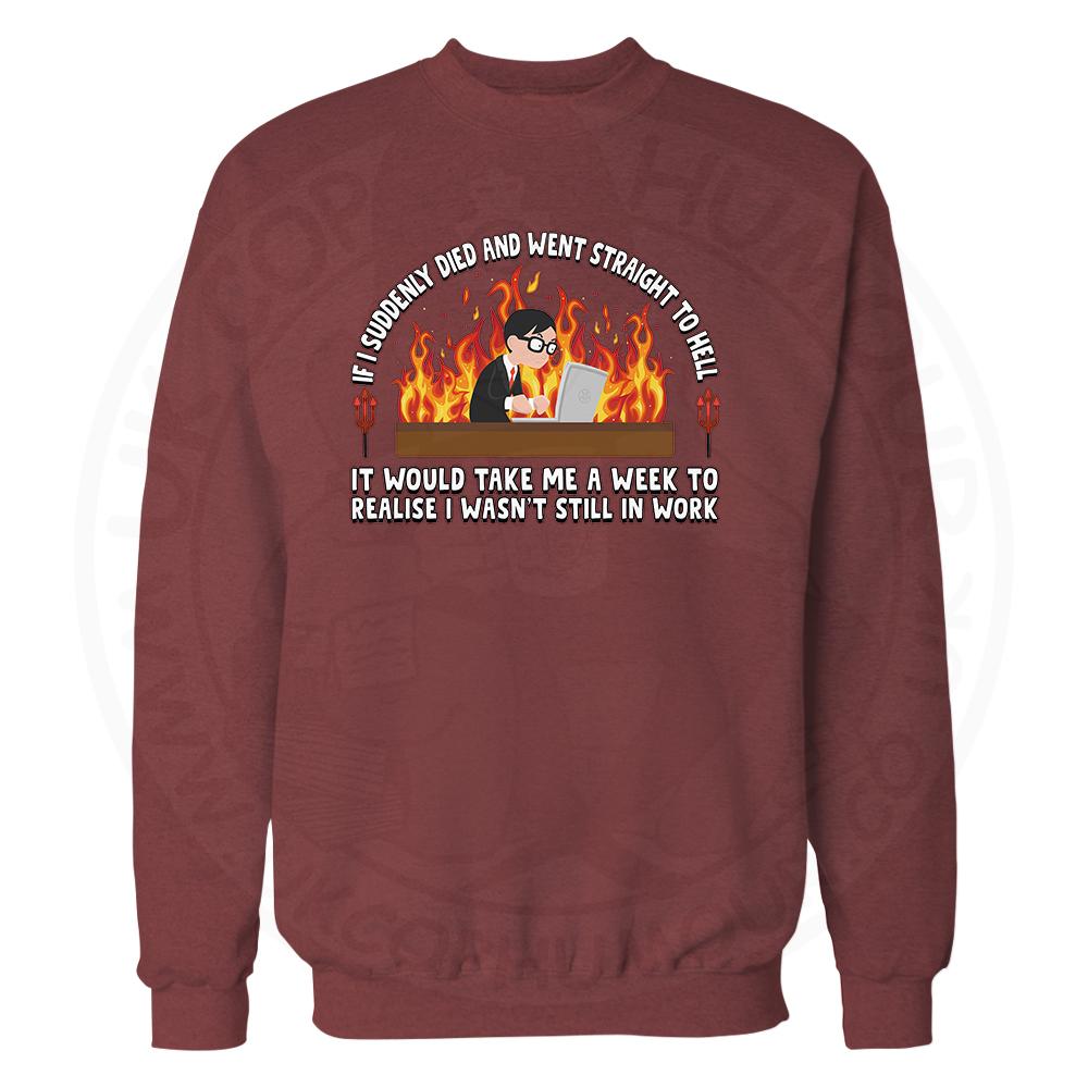 STRAIGHT TO HELL Sweatshirt - Maroon, 2XL