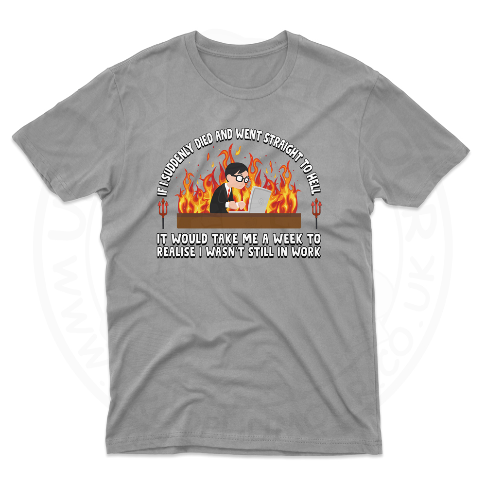 Mens STRAIGHT TO HELL T-Shirt - Grey, 5XL