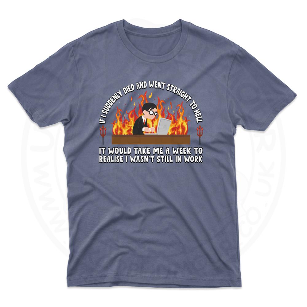 Mens STRAIGHT TO HELL T-Shirt - Indigo Blue, 2XL