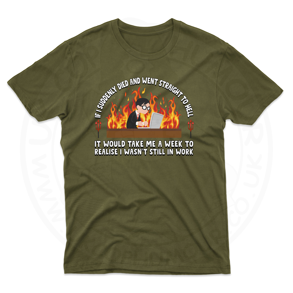Mens STRAIGHT TO HELL T-Shirt - Olive Green, 2XL