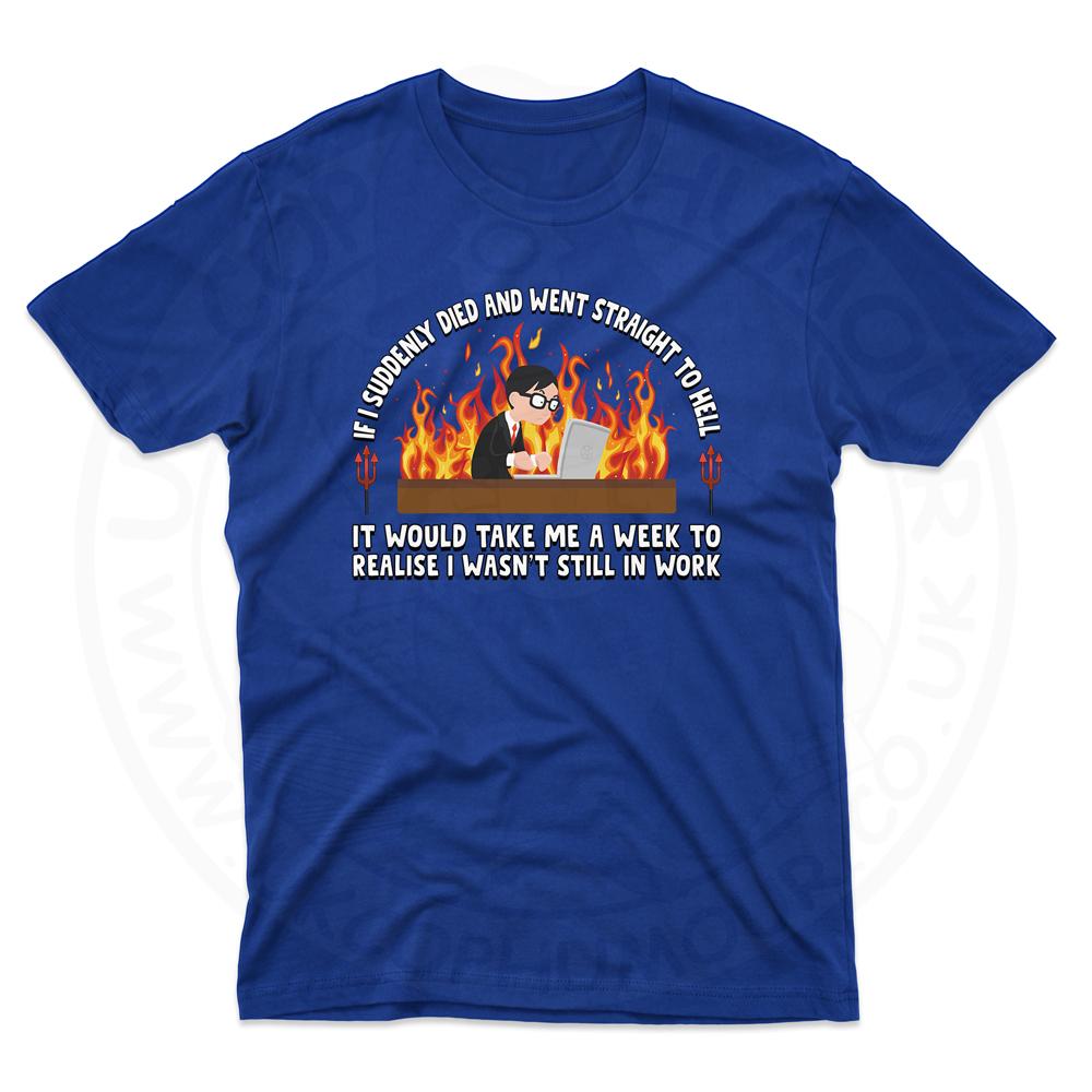 Mens STRAIGHT TO HELL T-Shirt - Royal Blue, 5XL