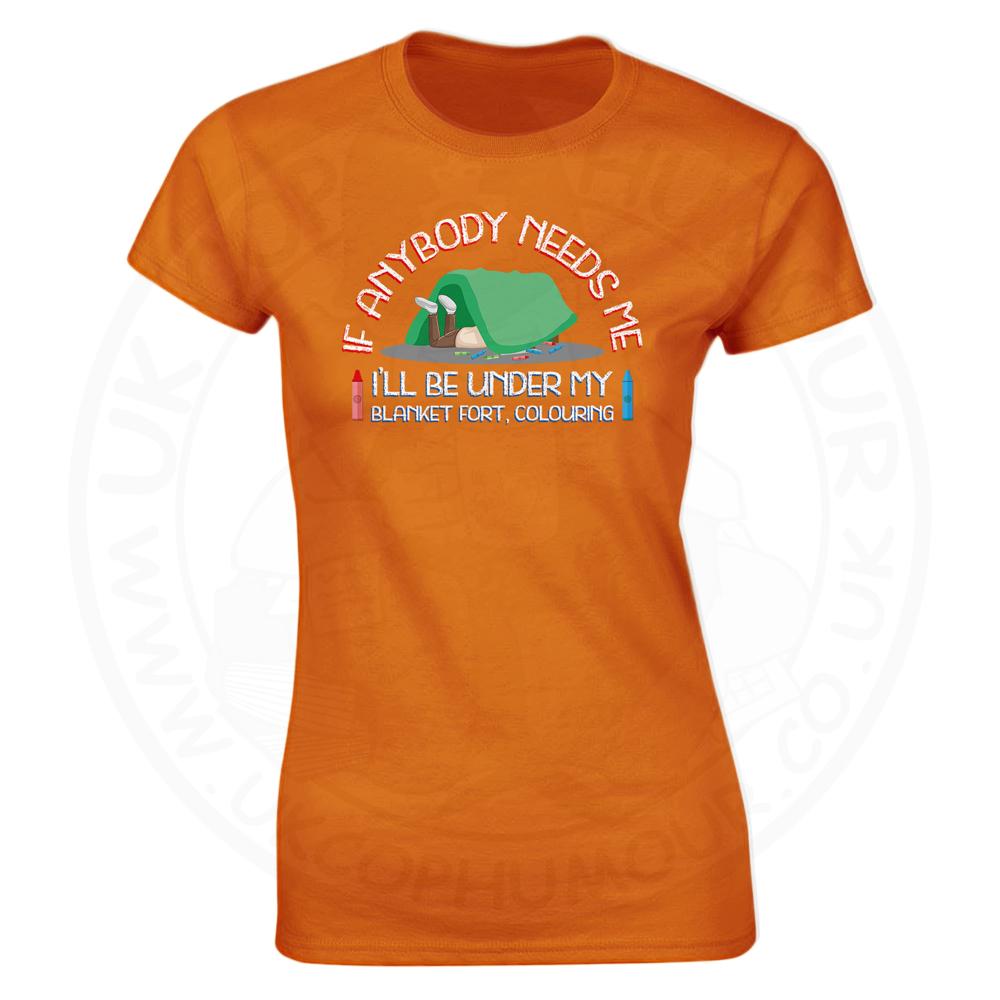Ladies BLANKET FORT T-Shirt - Orange, 18