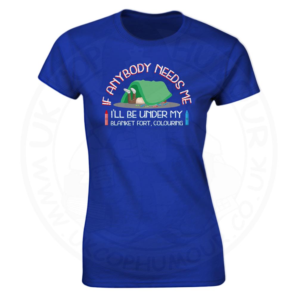 Ladies BLANKET FORT T-Shirt - Royal Blue, 18
