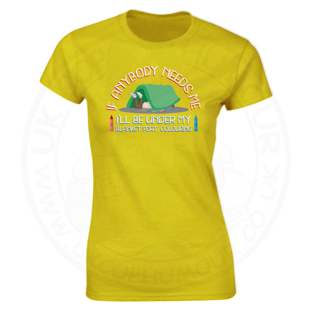 Ladies BLANKET FORT T-Shirt - Yellow, 18